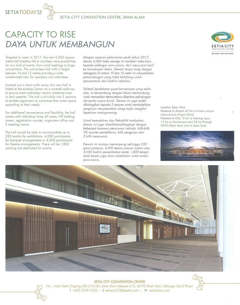 Setia Today Vol.20, page 12, Setia City Convention Centre
